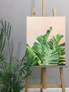 Bird of paradise arttropics paintingTropical Foliage Large - Excited to share this item from my shop: Tropical Foliage Large Yellow Green Plant Painting, Plant Art, Painting Flowers, Art Flowers, Large Painting, Leaf Wall Art, Leaf Art, Green Wall Art, Green Art