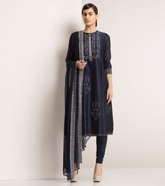 Navy Blue Chanderi Silk Churidar Suit with Leather Sequins by am:pm