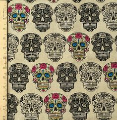 Sugar Skull Beige Fabric The Day of the Dead by SaltnPepperDesign