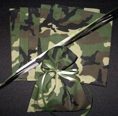 Get camo fabric from Walmart.. Too cute!!!! Use Bandanas for favor bag