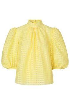 New Season Designer Womenswear | SS20 Designer Clothing | Atterley Marigold, High Neck Blouse, Gingham Fabric, Check Fabric, Color Pairing, Gingham Check, Friend Wedding, Bright Yellow, Designer Clothing