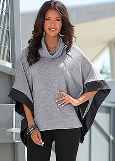 Faux leather trim sweater