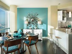 Richtig verstanden – Sie können Blau im Esszimmer benutzen! - blau im esszimmer wand in türkis mit sonnenspiegel