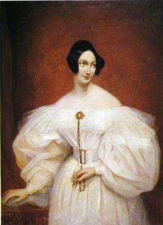 """Portrait of an Unknown Woman in a White Dress"", c. 1830s, by Carl von Steuben (German, 1788-1856)"