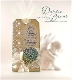 Floral tag using @JustRite Papercraft, Inc. Botanical Medallions and Banners with Classic Art Deco Lace Edges One stamps