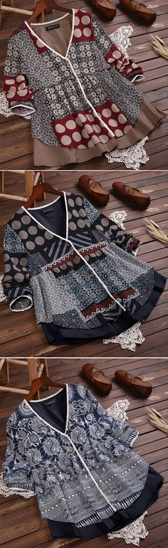 48% OFF US$34.99 Plus Size Women Ethnic Printed V-neck Fake Two Pieces Vintage Blouses.  SHOP NOW!