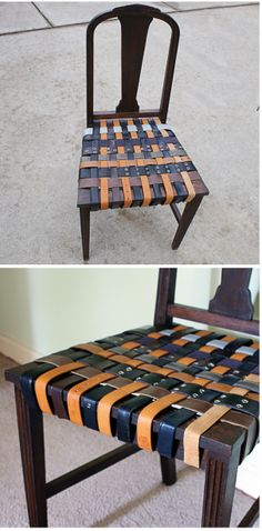 Create your own belted chair DIY Chair Renovation.  Belting is sold at fabric stores