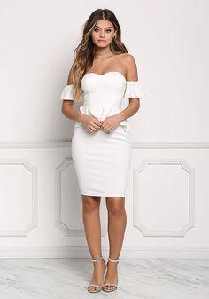 Off White Off Shoulder Peplum Bodycon Dress - Boutique Culture
