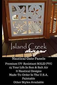 Seashell Custom Gate, Garden Gate, Entryway Stair Gate, Porch Gate, Coastal Gate, Side Entrance Gate, Dock Gate, Deck Gate, Breezeway Gate, Gates and Fences, Tropical Design Gate, Caribbean Design Gate, Nautical Gate, Beach House Gate Porch Gate, Deck Gate, Stair Gate, Exterior Vinyl Shutters, Vinyl Gates, Metal Garden Gates, Key West Style, Entryway Stairs, Caribbean Homes