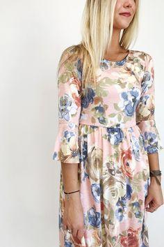 Peach Floral Midi Dress | ROOLEE