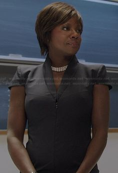 Annalise's black cap sleeve zip front dress on How to Get Away with Murder.  Outfit Details: http://wornontv.net/37222/ #HTGAWM