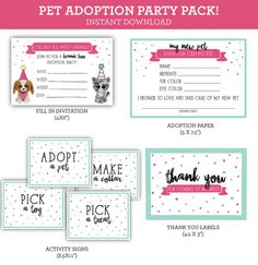 Pet Adoption Beanie Boo Printable Party Pack Instant