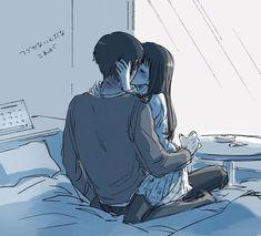 Found on iFunny Sad Anime Couples, Anime Couples Drawings, Anime Love Couple, Manga Couple, Arte Aries, Futaba Y Kou, Cute Anime Coupes, Romantic Manga, Black Anime Characters