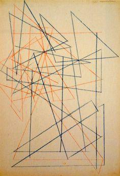 Alexander Rodchenko, Studies for construction, 1921 Crayon on paper 48.3 x 32.3 cm