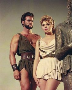 silentsandbeyond: Steve Reeves and Sylva Koscina. Publicity photo for Hercules (Le Fatiche di Ercole), directed by Pietro Francisci. Steve Reeves, George Reeves, Epic Movie, Love Movie, Arnold Schwarzenegger, Godzilla, Trojan Horse, Cinema, Burt Reynolds