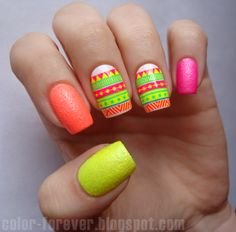 neon  neon  nail art by ania
