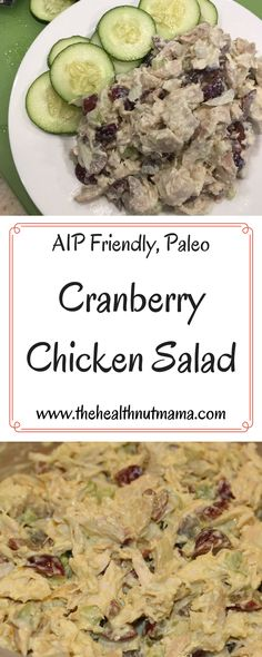 Best ever Chicken Salad. Perfect with leftover Turkey at Thanksgiving or Christmas or during Summer Add grapes instead of Cranberries! (Paleo, AIP Friendly) www.thehealthnutmama.com