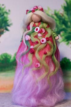 wool fairy, Frühlingsfee aus Märchenwolle, fairy, felt, wool, craft, jahreszeitentisch, märchenwolle, waldorf