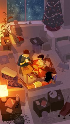 Home made picnic by ~PascalCampion Christmas indoor picnic.