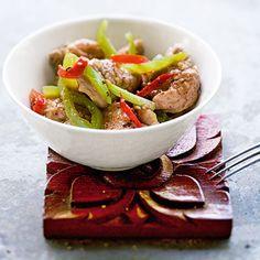 Schweinefleisch mit Paprikagemüse (Muh Pad Prik Ohn)