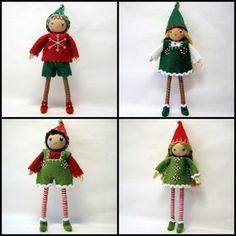 Large Kindness Elves.  6 inch bendable elf dolls.  Handmade by www.PNTdolls.com