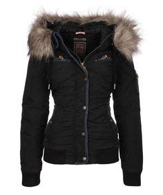 DreiMaster Black Ruched Zip-Up Jacket | zulily