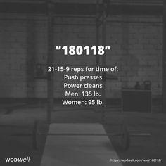 21-15-9 reps for time of:: Push presses; Power cleans; Men: 135 lb.; Women: 95 lb.