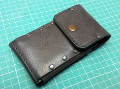 Handmade sleeve/ wallet from vintage dark brown genuine leather iPhone 6 S cell phone case with pocket card ID free initials belt loop