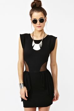 Peplum Mesh #dress at Nasty Gal. so architectural and cool, and i can't resist cutouts