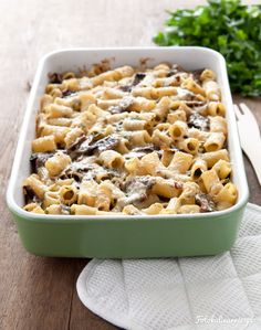 Pasta Casserole with Mushrooms. Pasta Casserole with mushrooms bechamel sauce bacon parmesan and green parsley. (in Polish with translator) Mushroom Casserole, Pasta Casserole, Rigatoni, Penne, Pork Recipes, Cooking Recipes, Bechamel Sauce, Parsley, Parmesan