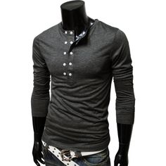 Father's day gift: TheLees Mens casual slim fit button point long sleeve tshirts Mode Masculine, Sharp Dressed Man, Well Dressed Men, Look Cool, Swagg, Costume, Dress To Impress, Men Dress, What To Wear
