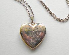 Vintage Floral Heart Locket Necklace Gold Filled by JoolsForYou