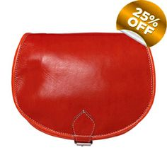 Image of Small Red Leather Saddle Bag - but I would get it in orange!