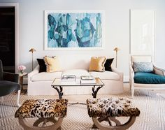Turquoise painting, leopard print stools, gray velvet chair! House of Turquoise: Lilly Bunn Weekes