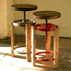 Reclaimed rustic artisan wood stools for kitchen playroom office or bar - Hen And Hammock ($100-200) - Svpply