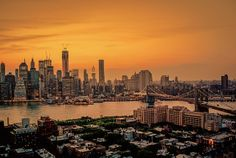New York City Skyline Sunset and the Brooklyn Bridge on a Summer Evening by Vivienne Gucwa, via Flickr