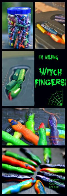 I'm melting witch fingers...use old crayons for a fun activity or cute party favors.