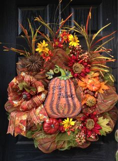 "Fall ""Give Thanks"" mesh wreath"