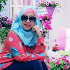 Hijab Blue and pink