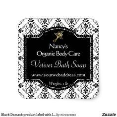 Black Damask product label with logo
