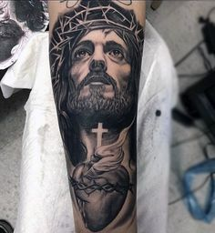 Top 101 Jesus Tattoo Ideas - Inspiration Guide] - Man With Tattoo Of Jesus Holding Cross And Heart Forearm Sleeve - Jesus Forearm Tattoo, Jesus Tattoo Sleeve, Jesus Tatoo, Forearm Tattoos, Sleeve Tattoos, Jesus On Cross Tattoo, God Tattoos, Body Art Tattoos, Mens Tattoos