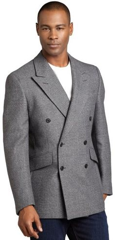 $775, Charcoal Wool Double Breasted Blazer: Prada Ardesia Grey Wool Blend Tweed Woven Double Breasted Blazer. Sold by Bluefly. Click for more info: http://lookastic.com/men/shop_items/230285/redirect