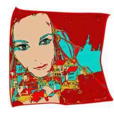 Luxury Silk scarf from Lady Prague collection, hand hemmed in lovely gift packaging. This unique design of woman, which embodies Prague has paint Czech painter Aleš Motýl exclusively for STEINER & KOVARIK.