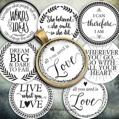 Instant Download of Favorite Quotes 1 Circle Bottle Cap