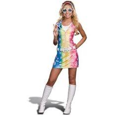 Girls Retro 70s Hippie Tie Dye Dress Halloween Costume