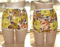 Vintage 60s Op-Art Golden Roses Cotton Bubble Panties L Large Full Cut Granny Panty by IntrigueU4Ever, $32.50