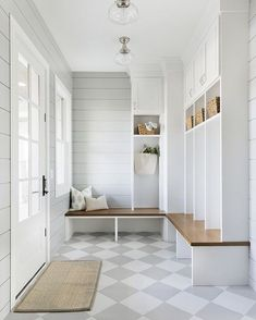 A mud room, by virtue of its existence, makes all the other rooms in the house so much tidier. I have 10 things to include in a Mud Room here. Mudroom Laundry Room, Farmhouse Laundry Room, Laundry Room Design, Mudrooms With Laundry, Farmhouse Flooring, Mud Room Lockers, Mudroom Shelf, Laundry Room Island, Built In Lockers