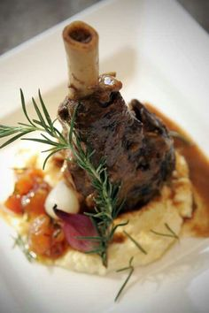 Moroccan-Spiced Braised Lamb Shank with Roasted Shallots, Rosemary-Stewed Tomatoes, and Mashed Potatoes-Chef Sia Ayrom