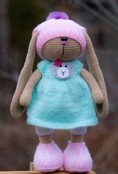 Crochet Handmade Toy Bunny Rabbit Girl Beige Soft Doll Artist 11 in #Handmade