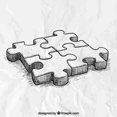 Puzzle Vectors, Photos and PSD files Puzzle Drawing, 3d Art Drawing, Art Drawings Sketches Simple, Pencil Art Drawings, Doodle Drawings, Easy Drawings, Puzzle Art, Arte Sharpie, Doodle Art Journals